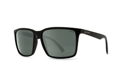 VonZipper - Lesmore Black Satin PVC Sunglasses, Wildlife Grey Polarized Lenses
