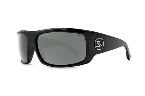 VonZipper - Clutch Black Satin PVC Sunglasses, Wildlife Grey Lenses