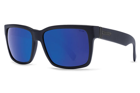 VonZipper - Elmore Black Satin PLC Sunglasses, Wildlife Blue Polarized Lenses
