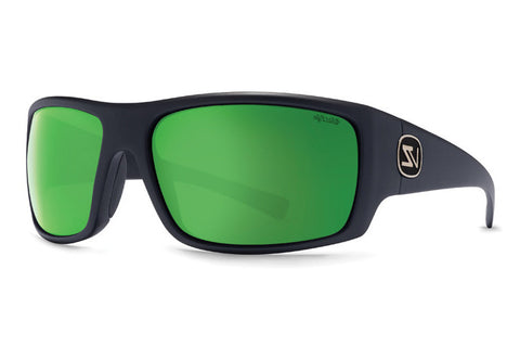 VonZipper - Suplex Black Satin PGG Sunglasses, Wildlife Green Chrome Glass Polarized Lenses