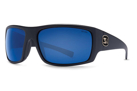 VonZipper - Suplex Black Satin PSB Sunglasses, Wildlife Blue Chrome Glass Polarized Lenses