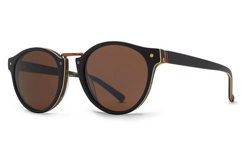 VonZipper - Stax Blackwood Satin BWB Sunglasses, Bronze Lenses