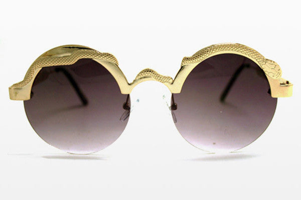 Spitfire - Snake Gold Sunglasses, Black Lenses