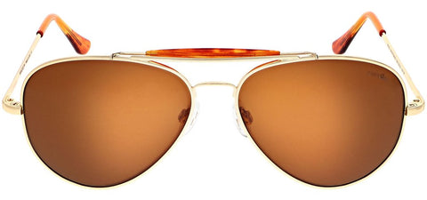 Randolph - Sportsman 61mm 23K Gold Skull Temple Sunglasses / SkyTec Polarized American Tan Lenses