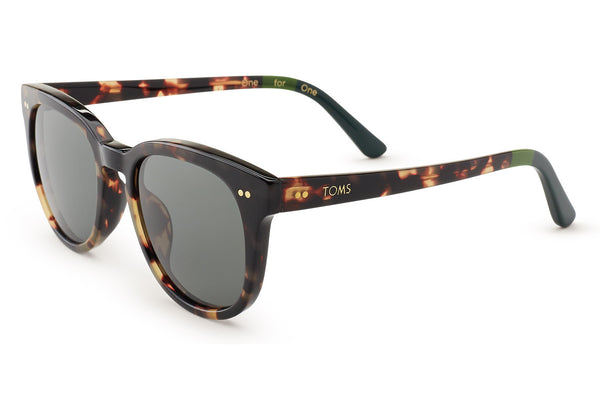 TOMS - Dodoma 201 Blonde Tortoise Sunglasses, Green Grey Lenses