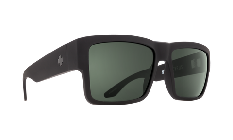 Spy - Cyrus Soft Matte Black Sunglasses / HD Plus Gray Green Polarized Lenses