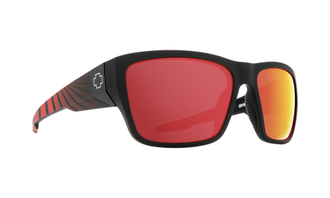 Spy - Dirty Mo 2 58mm Matte Black Red Burst Sunglasses / HD Plus Rose Polarized Red Spectra Mirror Lenses