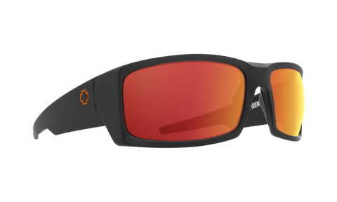 Spy - General 66mm Dale Jr Matte Black Sunglasses / HD Plus Gray Green Orange Spectra Mirror Lenses