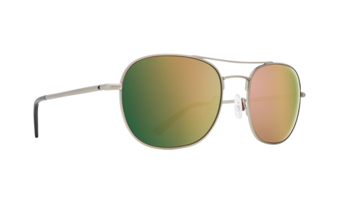 Spy - Pemberton 53mm Antique Silver Sunglasses / HD Plus Rose Polarized Green Gold Spectra Mirror Lenses