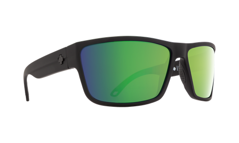 Spy - Rocky Soft Matte Black Sunglasses / HD Plus Bronze Green Spectra Mirror Polarized Lenses