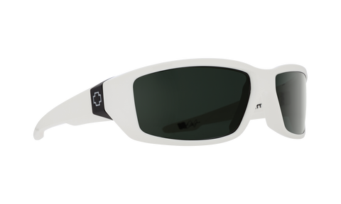 Spy - Dirty Mo White Sunglasses / Happy Gray Green Lenses