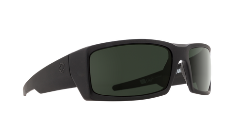 Spy - General Soft Matte Black Sunglasses / HD Plus Gray Green Polarized Lenses