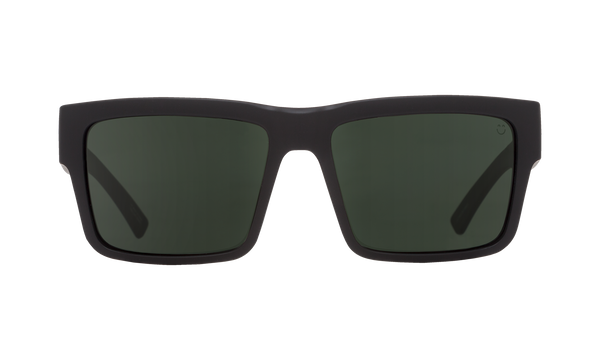 Spy - Montana Asian Fit 54mm Soft Matte Black Sunglasses / Happy Gray Green Polarized Lenses