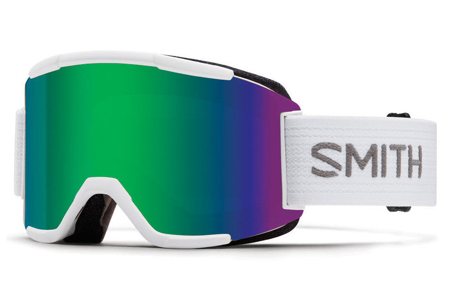 Smith Squad White Goggles, Green Sol-X Mirror Lenses