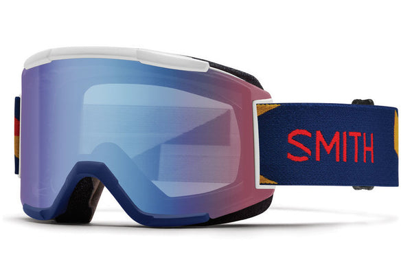Smith Squad Navy Outboard Goggles, Blue Sensor Mirror Lenses