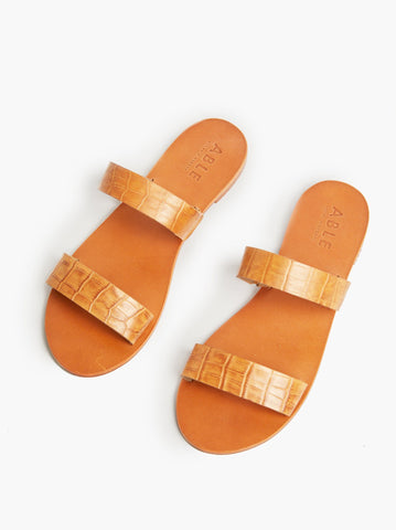 ABLE - Joselyne Double Strap Toffee Croco Sandals