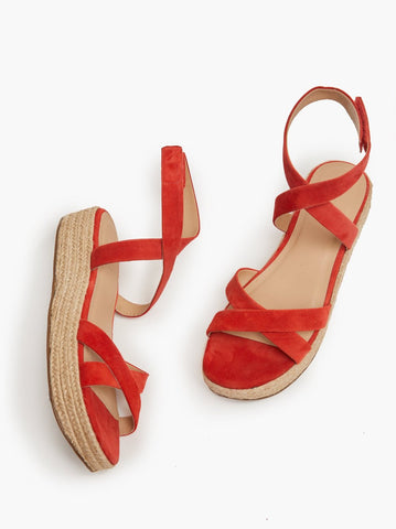 ABLE - Larissa Sport Bright Coral Suede Sandals