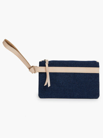 ABLE - Rachel Summer Denim Canvas Vachetta Nicasia Wristlet
