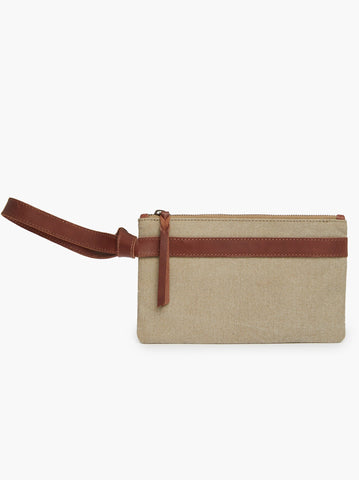 ABLE - Rachel Summer Khaki Canvas Whiskey Nicasia Wristlet