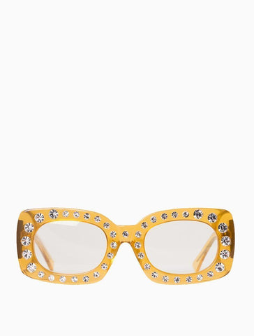 Poppy Lissiman - Crystal Beth Yellow Sunglasses / Yellow Lenses