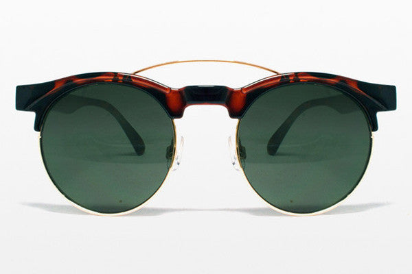 Spitfire - Surf Rock Tortoise Shell & Gold Metal Sunglasses, Black Lenses