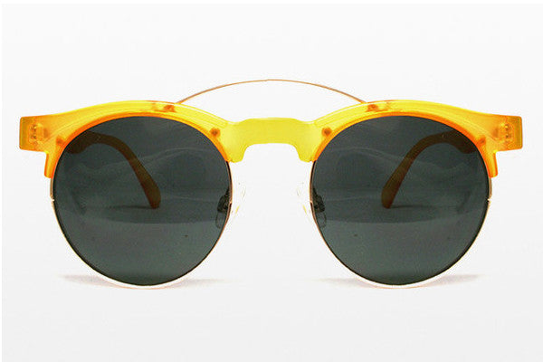 Spitfire - Surf Rock Matte Yellow & Gold Metal Sunglasses, Black Lenses