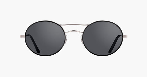 Garrett Leight - Sanborn Black Brushed Silver Sunglasses / Semi Flat Gunmetal Mirror Lenses