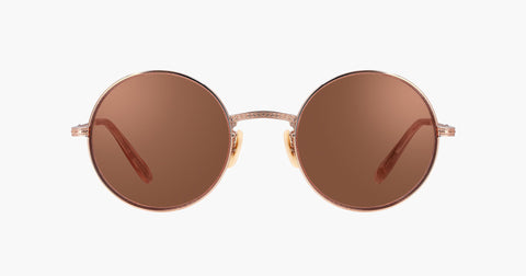 Garrett Leight - Seville Rose Gold Pink Crystal Sunglasses / Semi Flat Rose Quartz Mirror Lenses