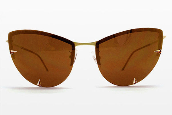 Spitfire - Shark Tooth Gold Sunglasses, Brown Lenses