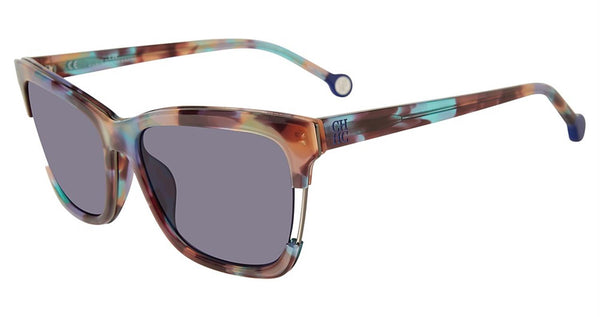 Carolina Herrera - SHE752 56mm Rainbow Tortoise Sunglasses / Purple Lenses