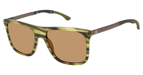Champion - Adapt 56mm Olive Horn Sunglasses / Dark Brown Polarized Lenses