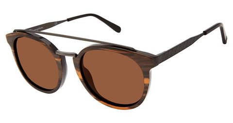 Champion - 6003H 52mm Brown Wood Gunmetal Sunglasses / Solid Brown Polarized Lenses