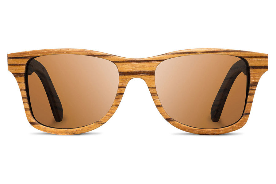 Shwood - Canby Zebrawood / Brown Polarized Sunglasses