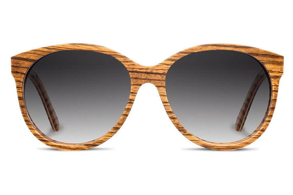 Shwood - Madison Zebrawood / Grey Fade Polarized Sunglasses