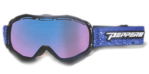 Peppers - Powder Hound Black Snow Goggles / Rose Blue Mirror Lenses