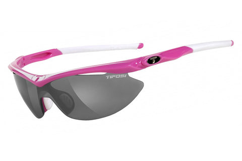 Tifosi Slip Neon Pink Sunglasses, Interchangeable AC Red / Clear / Smoke Lenses