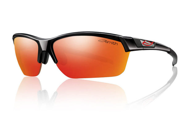 Smith - Approach Max Black Sunglasses, Red Sol-X Mirror Lenses
