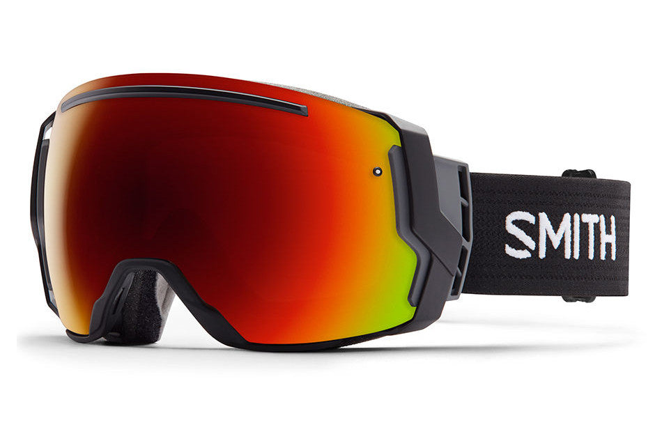 Smith I/O7 Black Goggles, Red Sol-X Mirror Lenses
