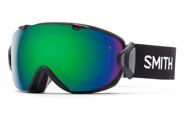 Smith I/OS Black Goggles, Green Sol-X Mirror Lenses