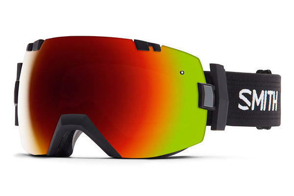 Smith I/OX Black Goggles, Red Sol-X Mirror Lenses
