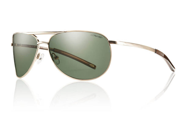 Smith - Serpico Slim Gold Sunglasses, Polarized Gray Green Lenses