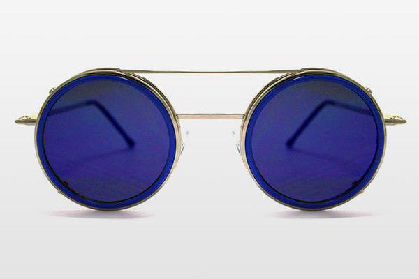 Spitfire - Sonic Silver & Blue Sunglasses, Blue Mirror Lenses