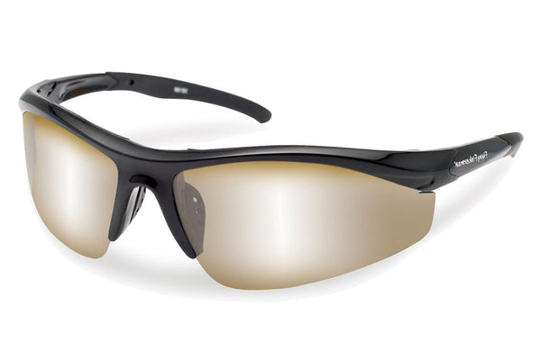 Flying Fisherman - Spector 7704 Black Sunglasses, Amber-Silver Mirror Lenses