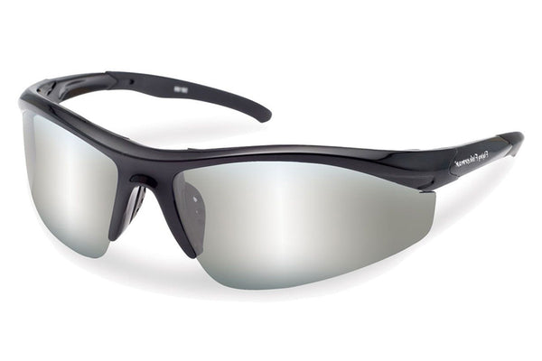 Flying Fisherman - Spector 7704 Black Sunglasses, Smoke-Silver Mirror Lenses
