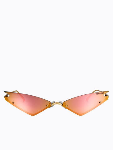 Poppy Lissiman - Speed Limit Gold Sunglasses / Pink Mirror Lenses