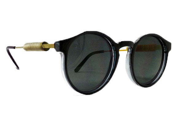 Spitfire - Anorak 3 Black & Gold Metal Sunglasses, Black Lenses