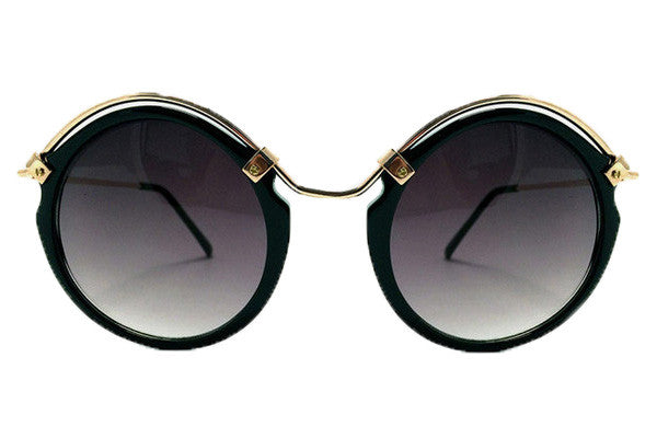 Spitfire Ateen Black & Gold Sunglasses, Black Lenses