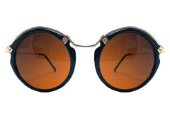 Spitfire - Ateen Black & Gold Sunglasses, Brown Lenses