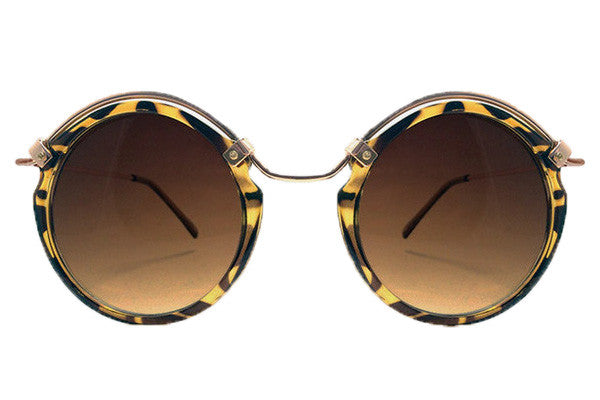 Spitfire Ateen Tortoise Shell & Gold Sunglasses, Brown Lenses