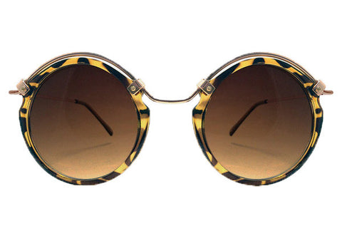 Spitfire - Ateen Tortoise Shell & Gold Sunglasses, Brown Lenses